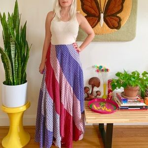 "Vintage 60s 70s patchwork hippie maxi skirt 27"""